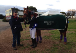 : Abbey with her superstar horse, Johnboy Walton (and proud Dad) taking out 1st place (Intro class) at the Friends of Werribee Horse Trials.