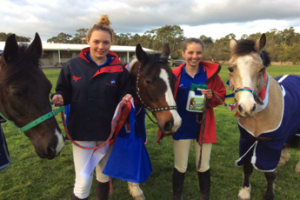 Rose and Mimi enjoying a day out and lots of ribbons at the Monash PC Showjumping Day.